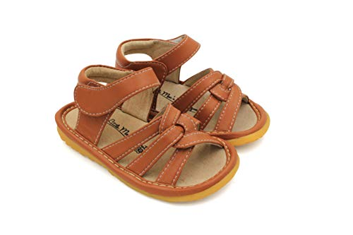 Little Mae's Boutique Mary Jane Tan Gleeful Squeaky Sandals for Toddler Girls, Walking Sandals with Removable Squeaker & Adjustable Velcro Strap - Soft Sole Sandals for Little Girls