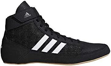 adidas Men's HVC Wrestling Shoe, Black/White/Iron Metallic, 10.5