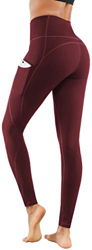 Lingswallow High Waist Yoga Pants - Yoga Pants with Pockets Tummy Control, 4 Ways Stretch Workout Running Yoga Leggings (Bordeaux red, X-Large)