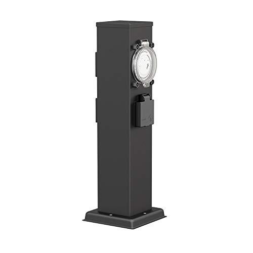 ledscom.de Garten-Steckdosen-Säule Polly schwarz für außen, 3-Fach mit Timer/Zeitschaltuhr, Edelstahl, eckig, 38cm