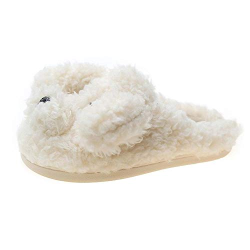 B/H Zapatillas de Invierno Mujer Hombre Pantuflas,Flat-Bottomed Dog Plush Cotton Slippers, Non-Slip Warm Floor Shoes-White_41