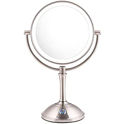 """AmnoAmno LED Makeup Mirror-10x Magnifying,7.8"""" Double Sided Lighted Vanity Makeup Mirror with Stand, Touch Button Adjustable Light-Cord or Cordless (sliver)"""