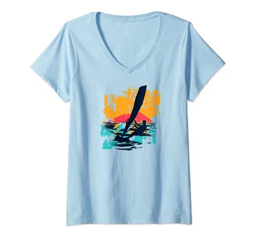 Mujer Windsurfistas Velas de Windsurf Tablas de surfistas Windsurf Camiseta Cuello V