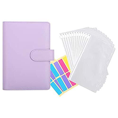 Timagebreze 12 Pieces of Transparent Plastic A6 Binder Envelopes,Waterproof Cash Budget Envelope System,with Label Stickers C