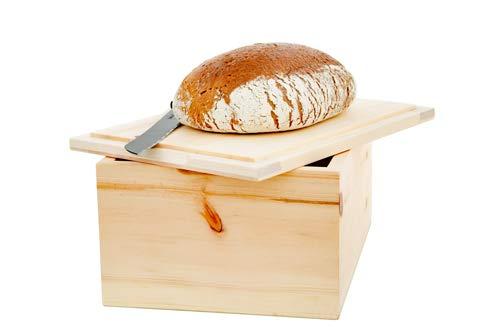 Brotkasten Zirbenholz, Innenseite des Deckels kann als Servier- oder Schneidebrett verwendet Werden (Maße, Außen: Länge 25 cm Breite 25 cm Höhe 17 cm)