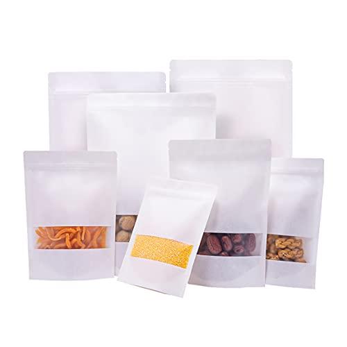 Bolsa Papel Kraft con Ventana, Bolsas Kraft, Bolsas Reutilizables Ziplock, para Frutos Secos, Dulces, Granos de Café, Cereales, Comida para Mascotas, etc. 160x260mm blanco 50piezas