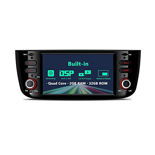 Autoradio Android 10 integrato DSP CarAutoPlay 6.2 pollici Autoradio Navigazione GPS Supporto unità principale DIN singolo BT5.0 WIFI Uscita RCA completa WiFi Telecamera di backup DVR per FIAT Punto