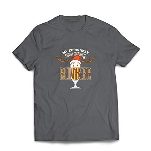lepni.me Camisetas Hombre Reinbeer Disfraz de Pijama de Navidad, Regalos para Amantes de la Cerveza (XXX-Large Grafito Multicolor)