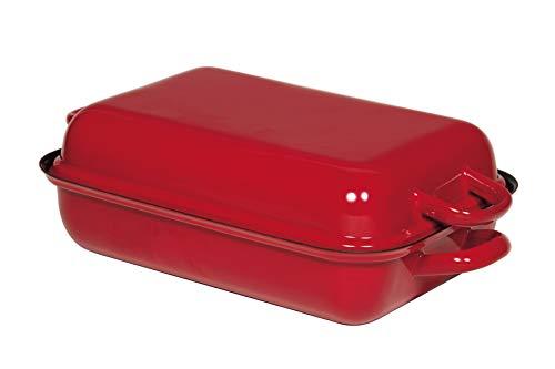 Riess, 0105-020, Bratpfanne mit Deckel 37/26, Bräter, Ofenpfanne, Classic - Color ROT, 37 x 26 cm, Höhe 13,3 cm, Emaille, rot/schwarz