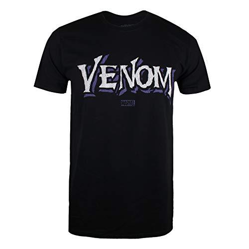 Marvel Venom Logo Camiseta, Negro (Black...