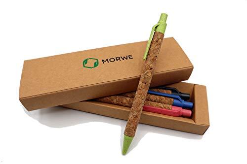 Kugelschreiber aus Kork + Weizenstroh | Set aus 5 Nachhaltigen-Kugelschreibern | Ökologische Kugelschreiber | Stift in Plastikfreier Verpackung