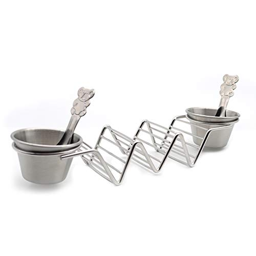 Upgrade Taco HoldersTaco HolderTaco Holder StandStainless Steel Taco Rack Hold 3 Hard or Soft Shell Tacos with 2 Salad Cups amp 2 Spoons Safe for Baking Taco Truck Tray