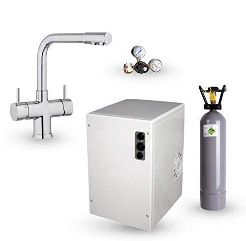 Untertisch-Trinkwassersystem SPRUDELUX® Power Soda ohne Filtereinheit inklusive 5-Wege-Armatur NOBIUS L-Auslauf. Profi-Wassersprudler für den Privathaushalt. Spritziges Mineralwasser