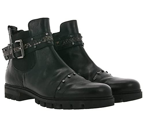 Donna Carolina Texas Echtleder-Stiefelette rockige Damen Ankle-Boots Booties Absatz-Schuhe Schwarz, Größe:41