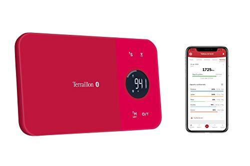 Terraillon 14414 - Báscula de cocina conectable con smartphone/tablet, cálculo de consumo de energía, función de tara, indicador de líquido, temporizador, Bluetooth Smart, 5 kg, NutriTab, color rojo