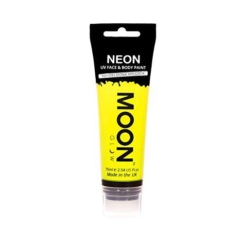 Moon Glow Grande Peinture fluo UV visage & corps. 75 ml Intense Jaune avec applicateur éponge