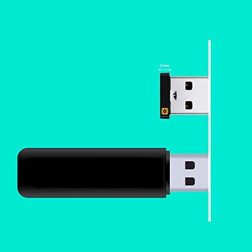 Logitech Unifying USB-Empfänger, Kabellose 2.4 GHz Verbindung, Kompatibel mit Logitech Unifying Mäusen und Tastaturen, Verbindet bis zu 6 Geräte Gleichzeitig, PC/Mac - Schwarz