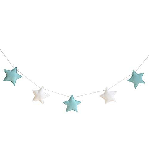 Mistomato Banner Bunting Estrella,Guirnalda de Fieltro de Lana Adornos, banderines para Fiestas Infantiles, decoración para habitación de bebé, niños o niñas, Tela,Green + White