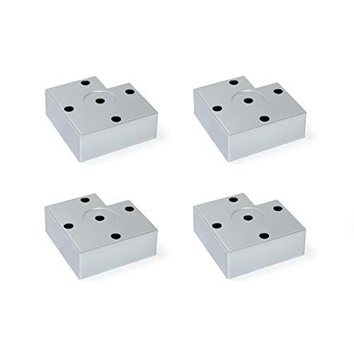 EMUCA Pies para muebles de plástico gris metalizado, Patas para mueble, Lote de 4 pies de altura 30 mm
