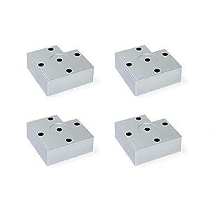 Emuca - Pies para muebles de plástico gris metalizado, Patas para mueble, Lote de 20 pies de altura 30mm