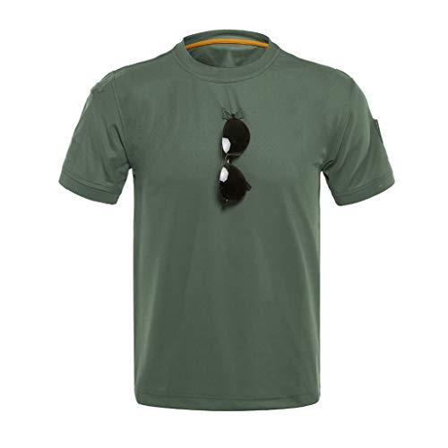 Tyoby Herren T-Shirt Loses taktisches elastisches, schnelltrocknendes mit rundem Halsausschnitt,Fitness Herrenbekleidung(Grün,XXXL)