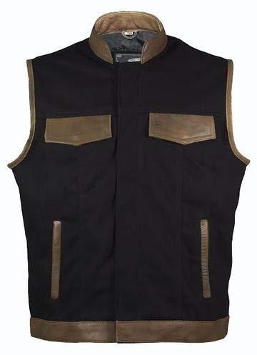 IGUANA CUSTOM CLOTHES Chaleco estilo SOA vaquero color negro y piel marrón. (M)