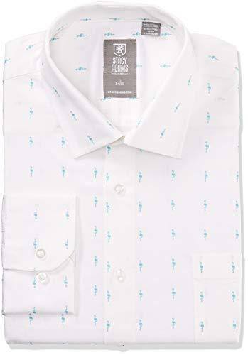 STACY ADAMS Men's Big and Tall Contemporary Modern Fit Dress Shirt, Aqua Flamingo, 22' Neck 34-35 Sleeve