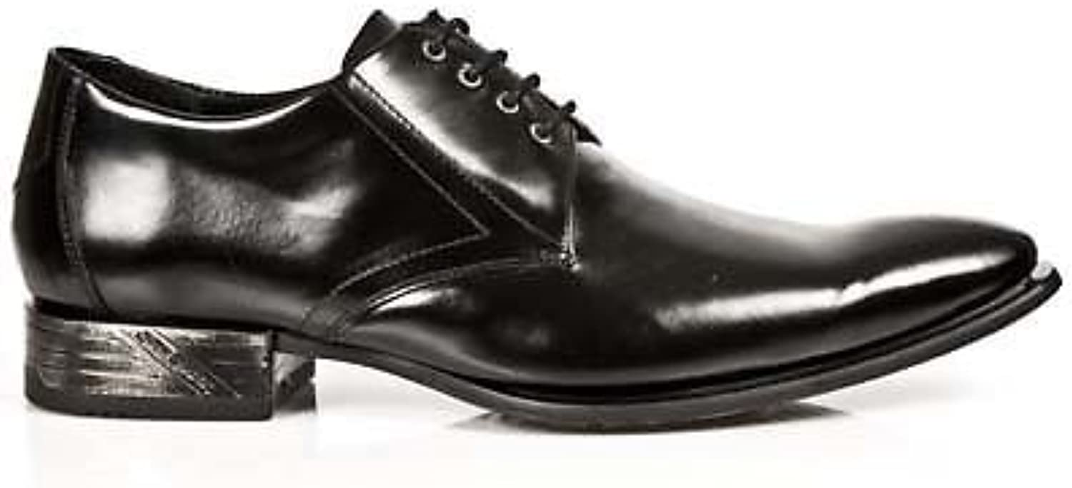 NEWROCK New Rock CLASSIC 2243-S1 BLACK PATENT Leather West Steel Lace shoes