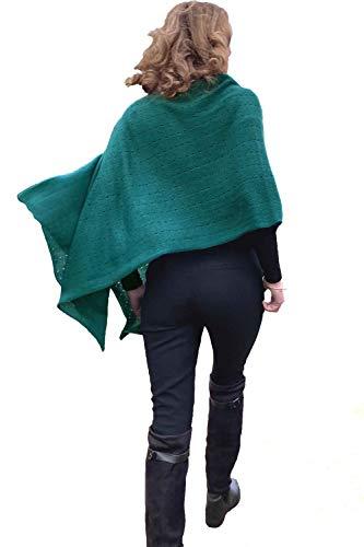 Poncho de cachemir para mujer, bufanda de viaje, chal de novia, con botones, de punto, pashmina, portátil, ligera, multisentido, 100% puro, regalo ético, pino verde