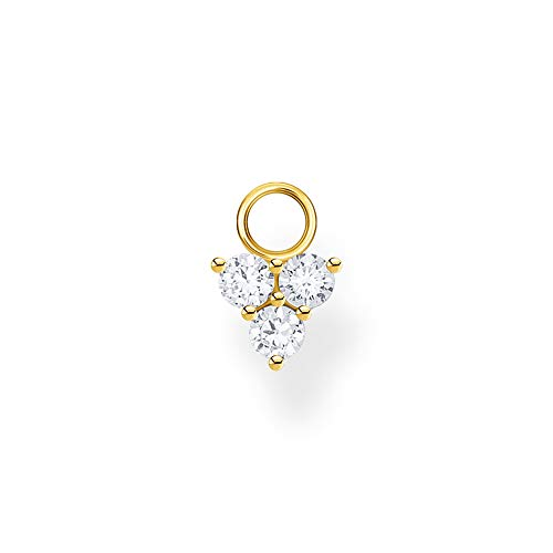 Thomas Sabo Pendientes para mujer con colgante de piedras blancas doradas, plata de ley 925