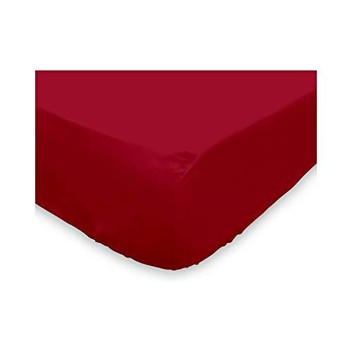 Soleil d'ocre Sábana Bajera Lisa 90x190 cm de algodón roja