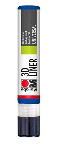 Marabu 18030009652 - 3D Liner mittelblau, universelle Effektfarbe auf Wasserbasis, für samtartige Pluster- und Reliefeffekte auf Stoff, Holz, Metall u.v.a., speichelecht, einfache Fixierung, 25 ml