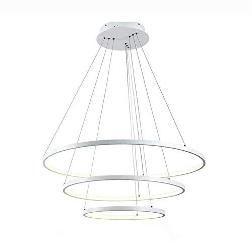 GFDFD Techo LED Moderna Accesorios de iluminación Pendiente Comedor Cable de Acero Inoxidable Ajustable habitación contemporánea 3 Anillos de la lámpara