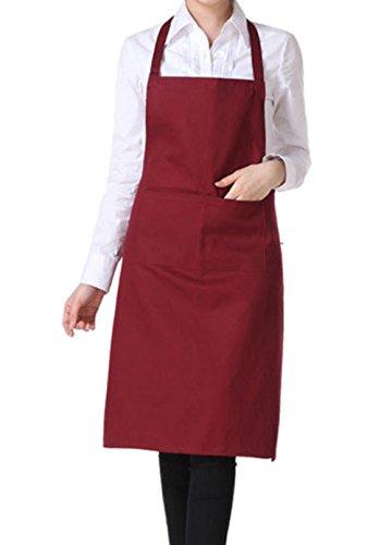 Westeng 1 pezzo Grembiule per Adulto, unisex, in cotone, da officina, con tasca, ideale per scuola di falegnameria, cucina, casa (Rosso scuro)