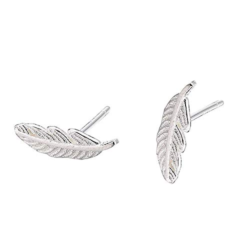 Cute Unique Lucky Little Feather 925 Sterling Silver Stud Earrings, Feather Earrings for Women,Leaf Stud Earrings for Women Teen Girls