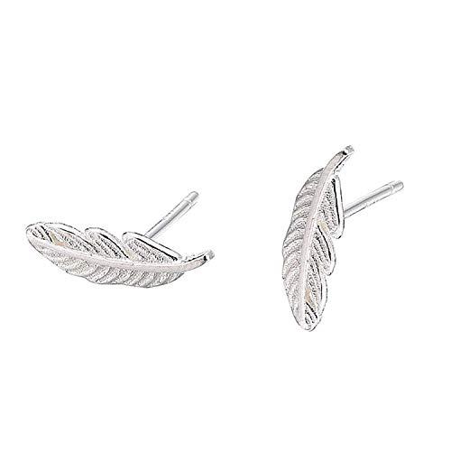 Tusuzik Süße einzigartige glückliche kleine Feder 925 Sterling Silber Ohrstecker Feder-Ohrringe für Frauen, Blatt-Ohrstecker für Frauen Teenager Mädchen