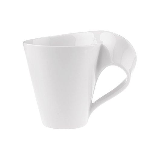 Villeroy & Boch NewWave Caffè Tasse mit Henkel, Henkelbecher aus Premium Porzellan, spülmaschinen- und mikrowellengeeignet, weiß, 300 ml, 11,3 cm