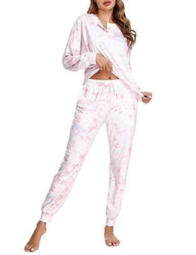 Doaraha Pigiama Donna Invernale Cotone Lungo Tie Dye 2 Pezzi Camicie da Notte Girocollo Raffinato Sexy e Comfort S-XXL