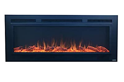 Touchstone 80013 - Sideline Steel Electric Fireplace - 50 Inch Wide - in Wall Recessed - 5 Flame Settings - Realistic 3 Color Flame - 1500/750 Watt Heater - (Matte Black) - Log & Crystal Options
