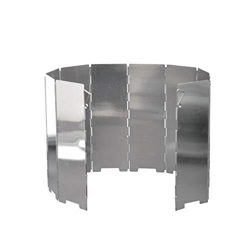 LeftSuper Pare-Brise Camping en Plein air cuisinière poêle Pare-Brise en Alliage d'aluminium Pliable avec Prise Coupe-Vent 8/10 pièces avec Sac en Tissu