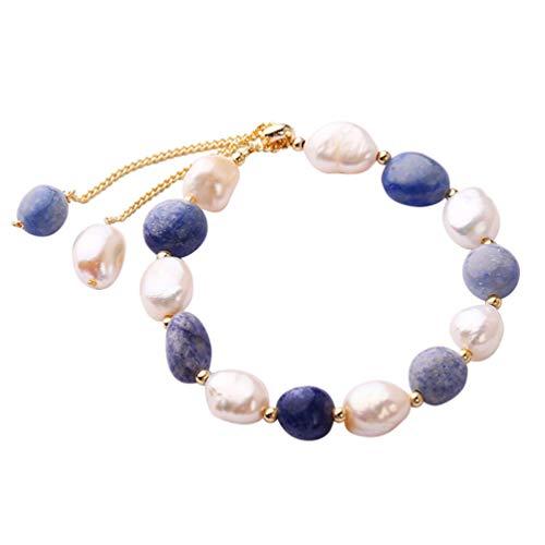 Holibanna Pulseira de pérola, bracelete de jade barroco, cristal, vintage, decoração de pulso, joia para mulheres, mães