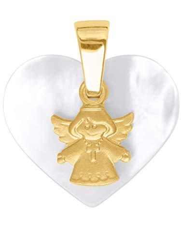 MyGold Schutzengel Anhänger (Ohne Kette) Gelbgold 585 Gold (14 Karat) 16mm x 14mm Engel Engelchen Perlmutt Herzform Herz Goldanhänger Kettenanhänger Glorious V0012333