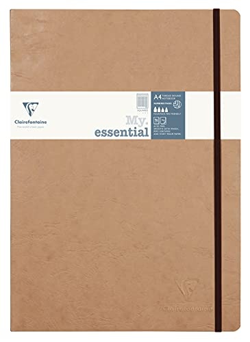 Clairefontaine 'Age Bag' Thread-Bound Notebook, A4, Squared, 192 Pages - Brown