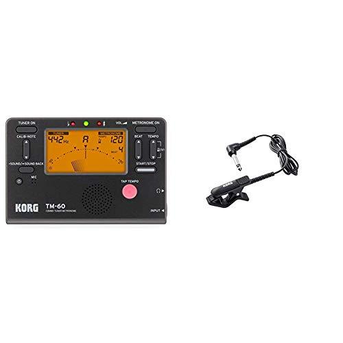 Korg TM60Bk Metrónomo Afinador, Color Negro + CM-300-BK micrófono de contacto con diseño mejorado, Negro