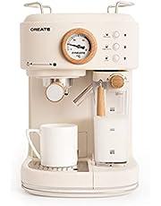 CREATE Thera Matt Pro koffiezetapparaat, halfautomatisch, 20 bar druk, espresso, latte of cappuccino, afneembaar waterreservoir 1,5 l, melkreservoir en waterreservoir afneembaar, 1250 W (crème)