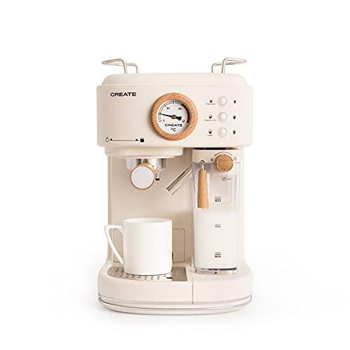 CREATE Thera Matt Pro Kaffeemaschine, halbautomatisch, 20 Bar Druck, Espresso, Latte oder Cappuccino, abnehmbarer Wassertank 1,5 l, Milchbehälter und Wasserbehälter abnehmbar, 1250 W (Creme)