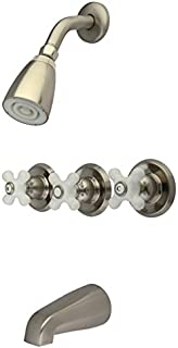 Kingston Brass KB238PX Tub and Shower Faucet with 3-Porcelain Cross Handle, Brushed Nickel