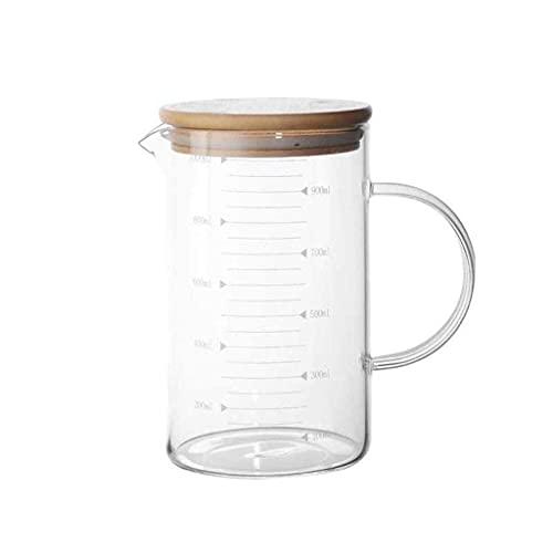 Exquisito Jarra de cristal Leche de vidrio Taza de medición con escala...