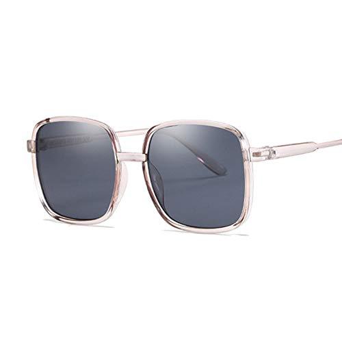 QYV Gafas de Sol cuadradas de Gran tamaño para Mujer, Gafas de Sol Transparentes de Lujo con gradiente, Gafas Vintage con Montura Grande,Dark Gray