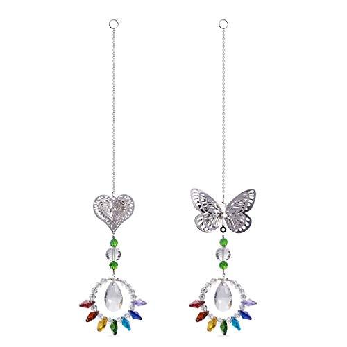 Y-POWER Bola de cristal de mariposa hecha a mano prisma arco iris fabricante colgante ornamento regalo decoración del hogar